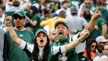 Dec 13, 2015; East Rutherford, NJ, USA; New York Jets fans cheer at MetLife Stadium. The Jets won, 30-8. Mandatory Credit: Vincent Carchietta-USA TODAY Sports