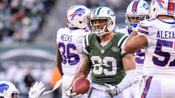 Jan 1, 2017; East Rutherford, NJ, USA; New York Jets wide receiver Jalin Marshall (89) celebrates after a long punt return against the Buffalo Bills during the 3rd quarter at MetLife Stadium. Mandatory Credit: Dennis Schneidler-USA TODAY Sports