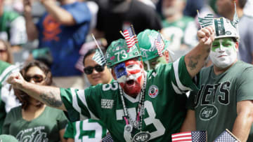 EAST RUTHERFORD, NJ - SEPTEMBER 11: A fan of the New York Jets watches on against the Cincinnati Bengals during their game at MetLife Stadium on September 11, 2016 in East Rutherford, New Jersey. (Photo by Streeter Lecka/Getty Images)