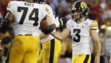 AMES, IA - SEPTEMBER 14: Place kicker Keith Duncan #3 of the Iowa Hawkeyes celebrates with teammate offensive lineman Tristan Wirfs #74 of the Iowa Hawkeyes after kicking a field goal in the first half of play at Jack Trice Stadium on September 14, 2019 in Ames, Iowa. (Photo by David Purdy/Getty Images)