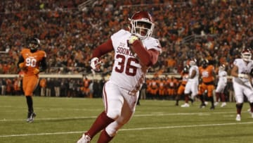 STILLWATER, OK - NOVEMBER 28 : Fullback Dimitri Flowers #36 of the Oklahoma Sooners has open field for a touchdown against the Oklahoma State Cowboys November 28, 2015 at Boone Pickens Stadium in Stillwater, Oklahoma. (Photo by Brett Deering/Getty Images)