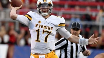 LAS VEGAS, NV - NOVEMBER 12: Quarterback Josh Allen #17 of the Wyoming Cowboys throws against the UNLV Rebels during their game at Sam Boyd Stadium on November 12, 2016 in Las Vegas, Nevada. UNLV won 69-66 in triple overtime. (Photo by Ethan Miller/Getty Images)