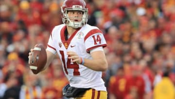 PASADENA, CA - JANUARY 02: Quarterback Sam Darnold #14 of the USC Trojans looks to pass the ball against the Penn State Nittany Lions during the 2017 Rose Bowl Game presented by Northwestern Mutual at the Rose Bowl on January 2, 2017 in Pasadena, California. (Photo by Sean M. Haffey/Getty Images)