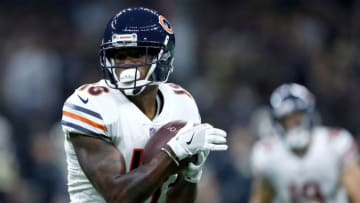 NEW ORLEANS, LA - OCTOBER 29: Tre McBride #18 of the Chicago Bears catches a pass against the New Orleans Saints during the first quarter at the Mercedes-Benz Superdome on October 29, 2017 in New Orleans, Louisiana. (Photo by Wesley Hitt/Getty Images)