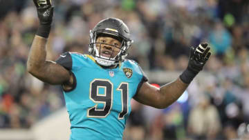 JACKSONVILLE, FL - DECEMBER 10: Yannick Ngakoue #91 of the Jacksonville Jaguars waits on the field during the second half of their game against the Seattle Seahawks at EverBank Field on December 10, 2017 in Jacksonville, Florida. (Photo by Sam Greenwood/Getty Images)