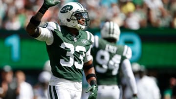 EAST RUTHERFORD, NJ - SEPTEMBER 24: Jamal Adams #33 of the New York Jets reacts against the Miami Dolphins during the first half of an NFL game at MetLife Stadium on September 24, 2017 in East Rutherford, New Jersey. (Photo by Rich Schultz/Getty Images)