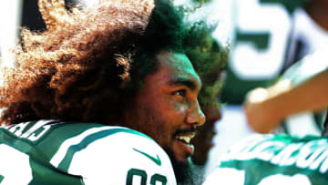 EAST RUTHERFORD, NJ - SEPTEMBER 24: Leonard Williams #92 of the New York Jets looks on against the Miami Dolphins during the first half of an NFL game at MetLife Stadium on September 24, 2017 in East Rutherford, New Jersey. (Photo by Al Bello/Getty Images)