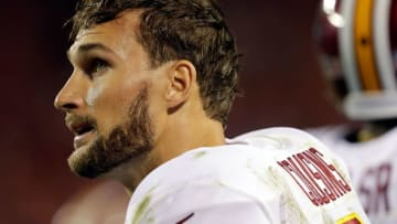 KANSAS CITY, MO - OCTOBER 02: Quarterback Kirk Cousins #8 of the Washington Redskins looks up at the scoreboard during the 4th quarter of the game against the Kansas City Chiefs at Arrowhead Stadium on October 2, 2017 in Kansas City, Missouri. (Photo by Jamie Squire/Getty Images)