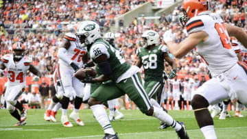 CLEVELAND, OH - OCTOBER 08: Marcus Maye #26 of the New York Jets makes an interception against the Cleveland Browns in the second quarter at FirstEnergy Stadium on October 8, 2017 in Cleveland, Ohio. (Photo by Jason Miller/Getty Images)
