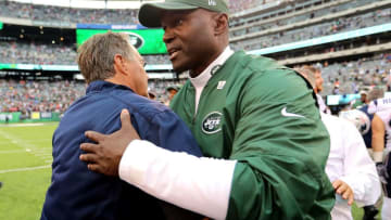 EAST RUTHERFORD, NJ - OCTOBER 15: Head coach Todd Bowles of the New York Jets and head coach Bill Belichick of the New England Patriots shake hands after the Patriots' 24-17 win at MetLife Stadium on October 15, 2017 in East Rutherford, New Jersey. (Photo by Abbie Parr/Getty Images)