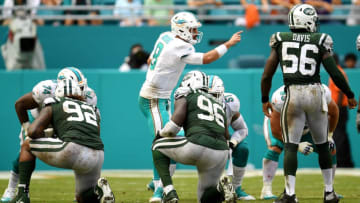 MIAMI GARDENS, FL - OCTOBER 22: Matt Moore #8 of the Miami Dolphins calls a play during the third quarter against the New York Jets at Hard Rock Stadium on October 22, 2017 in Miami Gardens, Florida. (Photo by Rob Foldy/Getty Images)