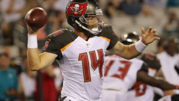 JACKSONVILLE, FL - AUGUST 17: Ryan Fitzpatrick #14 of the Tampa Bay Buccaneers attempts a pass during a preseason game against the Jacksonville Jaguars at EverBank Field on August 17, 2017 in Jacksonville, Florida. (Photo by Sam Greenwood/Getty Images)