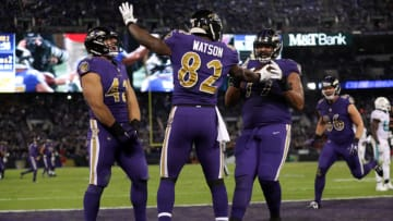 BALTIMORE, MD - OCTOBER 26: Tight End Benjamin Watson #82, full back Patrick Ricard #42 and offensive tackle Austin Howard #77 of the Baltimore Ravens celebrate after a touchdown in the second quarter against the Miami Dolphins at M&T Bank Stadium on October 26, 2017 in Baltimore, Maryland. (Photo by Patrick Smith/Getty Images)