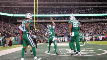 EAST RUTHERFORD, NJ - NOVEMBER 02: Quarterback Josh McCown #15 of the New York Jets celebrates scoring a touchdown against the Buffalo Bills during the first quarter of the game at MetLife Stadium on November 2, 2017 in East Rutherford, New Jersey. (Photo by Abbie Parr/Getty Images)