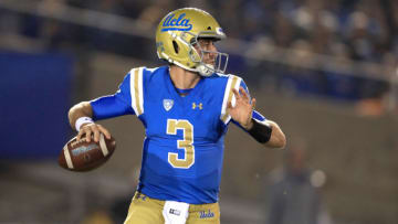PASADENA, CA - NOVEMBER 11: Josh Rosen #3 of the UCLA Bruins looks to pass during the first half of a game against the Arizona State Sun Devils at the Rose Bowl on November 11, 2017 in Pasadena, California. (Photo by Sean M. Haffey/Getty Images)