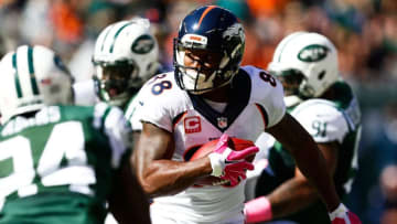 EAST RUTHERFORD, NJ - OCTOBER 12: Demaryius Thomas #88 of the Denver Broncos runs the ball in the first quarter during a game against the New York Jets at MetLife Stadium on October 12, 2014 in East Rutherford, New Jersey. (Photo by Jeff Zelevansky/Getty Images)