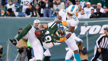 EAST RUTHERFORD, NJ - NOVEMBER 29: Devin Smith #19 of the New York Jets catches a touchdown pass against Jamar Taylor #22 of the Miami Dolphins in the second quarter during their game at MetLife Stadium on November 29, 2015 in East Rutherford, New Jersey. (Photo by Al Bello/Getty Images)