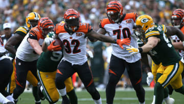 GREEN BAY, WI - SEPTEMBER 24: Jeremy Hill #32 of the Cincinnati Bengals carries the ball during the first quarter against the Green Bay Packers at Lambeau Field on September 24, 2017 in Green Bay, Wisconsin. (Photo by Dylan Buell/Getty Images)