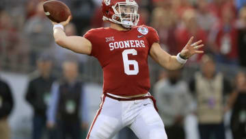 PASADENA, CA - JANUARY 01: Baker Mayfield #6 of the Oklahoma Sooners throws a pass during the 2018 College Football Playoff Semifinal Game against the Georgia Bulldogs at the Rose Bowl Game presented by Northwestern Mutual at the Rose Bowl on January 1, 2018 in Pasadena, California. (Photo by Sean M. Haffey/Getty Images)
