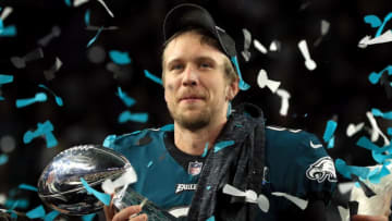 MINNEAPOLIS, MN - FEBRUARY 04: Nick Foles #9 of the Philadelphia Eagles celebrates with the Lombardi Trophy after defeating the New England Patriots 41-33 in Super Bowl LII at U.S. Bank Stadium on February 4, 2018 in Minneapolis, Minnesota. (Photo by Mike Ehrmann/Getty Images)