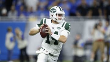 DETROIT, MI - SEPTEMBER 10: Sam Darnold #14 of the New York Jets drops back to pass in the first quarter against the Detroit Lions at Ford Field on September 10, 2018 in Detroit, Michigan. (Photo by Joe Robbins/Getty Images)