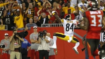 TAMPA, FL - SEPTEMBER 24: Wide receiver Antonio Brown #84 of the Pittsburgh Steelers celebrates his 27 yard touchdown during the second quarter of a game against the Tampa Bay Buccaneers on September 24, 2018 at Raymond James Stadium in Tampa, Florida. (Photo by Brian Blanco/Getty Images)