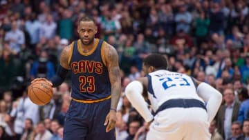 Jan 12, 2016; Dallas, TX, USA; Cleveland Cavaliers forward LeBron James (23) in action during the game against the Dallas Mavericks at the American Airlines Center. The Cavaliers defeat the Mavericks 110-107 in overtime. Mandatory Credit: Jerome Miron-USA TODAY Sports