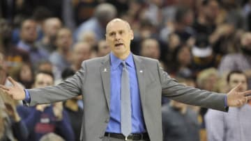 Mar 16, 2016; Cleveland, OH, USA; Dallas Mavericks head coach Rick Carlisle reacts in the fourth quarter against the Cleveland Cavaliers at Quicken Loans Arena. Mandatory Credit: David Richard-USA TODAY Sports