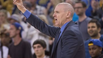 March 25, 2016; Oakland, CA, USA; Dallas Mavericks head coach Rick Carlisle instructs against the Golden State Warriors during the fourth quarter at Oracle Arena. The Warriors defeated the Mavericks 128-120. Mandatory Credit: Kyle Terada-USA TODAY Sports