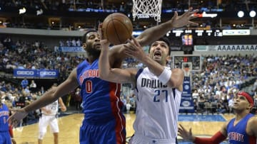 Mar 9, 2016; Dallas, TX, USA; Detroit Pistons center Andre Drummond (0) defends against Dallas Mavericks center Zaza Pachulia (27) during the game at the American Airlines Center. The Pistons defeated the Mavericks 102-96. Mandatory Credit: Jerome Miron-USA TODAY Sports