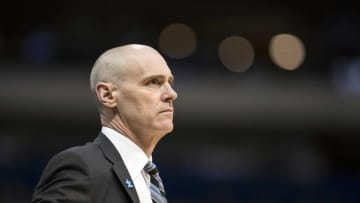 Apr 6, 2016; Dallas, TX, USA; Dallas Mavericks head coach Rick Carlisle watches his team take on the Houston Rockets during the first half at the American Airlines Center. Mandatory Credit: Jerome Miron-USA TODAY Sports