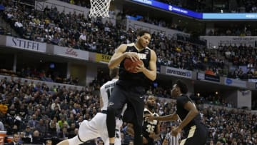 Mar 13, 2016; Indianapolis, IN, USA; Purdue Boilermakers center A.J. Hammons (20) grabs a rebound against the Michigan State Spartans during the Big Ten conference tournament at Bankers Life Fieldhouse. Mandatory Credit: Brian Spurlock-USA TODAY Sports