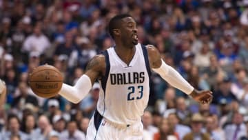 Apr 13, 2016; Dallas, TX, USA; Dallas Mavericks guard Wesley Matthews (23) passes the ball during the first half against the San Antonio Spurs at the American Airlines Center. Mandatory Credit: Jerome Miron-USA TODAY Sports