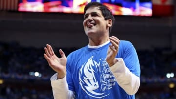 Apr 23, 2016; Dallas, TX, USA; Dallas Mavericks owner Mark Cuban react during the second quarter against the Oklahoma City Thunder in game four of the first round of the NBA Playoffs at American Airlines Center. Mandatory Credit: Kevin Jairaj-USA TODAY Sports
