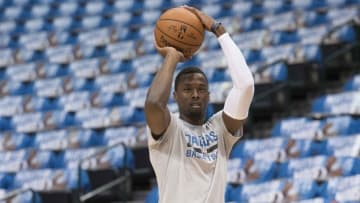 Oct 28, 2016; Dallas, TX, USA; Dallas Mavericks forward Harrison Barnes (40) warms up before the game against the Houston Rockets at the American Airlines Center. Mandatory Credit: Jerome Miron-USA TODAY Sports