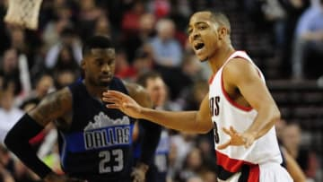 Mar 23, 2016; Portland, OR, USA; Portland Trail Blazers guard C.J. McCollum (3) reacts during the fourth quarter of the game against the Dallas Mavericks at Moda Center at the Rose Quarter. The Blazers won the game 109-103. Mandatory Credit: Steve Dykes-USA TODAY Sports