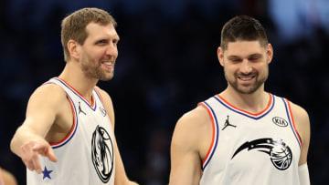 Dallas Mavericks Nikola Vucevic Dirk Nowitzki Copyright 2019 NBAE (Photo by Streeter Lecka/Getty Images)