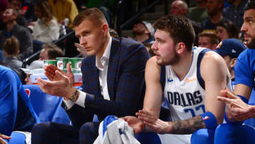 Dallas Mavericks Kristaps Porzingis Luka Doncic Copyright 2019 NBAE (Photo by Bart Young/NBAE via Getty Images)