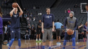 Dallas Mavericks Dirk Nowitzki Luka Doncic Copyright 2019 NBAE (Photo by Rocky Widner/NBAE via Getty Images)