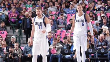 Dallas Mavericks Luka Doncic Kristaps Porzingis Copyright 2019 NBAE (Photo by Glenn James/NBAE via Getty Images)