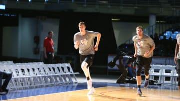 Dallas Mavericks Kristaps Porzingis Dirk Nowitzki Copyright 2017 NBAE (Photo by Nathaniel S. Butler/NBAE via Getty Images)