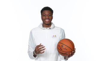 CHICAGO, IL - MAY 15: NBA Draft Prospect, Kostas Antetokounmpo poses for a portrait during the 2018 NBA Combine circuit on May 15, 2018 at the Intercontinental Hotel Magnificent Mile in Chicago, Illinois. NOTE TO USER: User expressly acknowledges and agrees that, by downloading and/or using this photograph, user is consenting to the terms and conditions of the Getty Images License Agreement. Mandatory Copyright Notice: Copyright 2018 NBAE (Photo by Joe Murphy/NBAE via Getty Images)