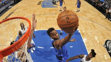 ORLANDO, FL - OCTOBER 5: Yogi Ferrell #11 of the Dallas Mavericks shoots a lay up against the Orlando Magic during a preseason game on October 5, 2017 at Amway Center in Orlando, Florida. NOTE TO USER: User expressly acknowledges and agrees that, by downloading and or using this photograph, User is consenting to the terms and conditions of the Getty Images License Agreement. Mandatory Copyright Notice: Copyright 2017 NBAE (Photo by Fernando Medina/NBAE via Getty Images)