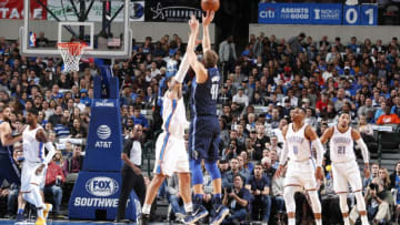 DALLAS, TX - NOVEMBER 25: Dirk Nowitzki #41 of the Dallas Mavericks shoots the ball against the Oklahoma City Thunder on November 25, 2017 at the American Airlines Center in Dallas, Texas. NOTE TO USER: User expressly acknowledges and agrees that, by downloading and or using this photograph, User is consenting to the terms and conditions of the Getty Images License Agreement. Mandatory Copyright Notice: Copyright 2017 NBAE (Photo by Danny Bollinger/NBAE via Getty Images)