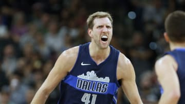 SAN ANTONIO,TX - NOVEMBER 27: Dirk Nowitzki #41 of the Dallas Mavericks tries to fire up his teammates after a basket against the San Antonio Spurs at AT&T Center on November 27, 2017 in San Antonio, Texas. NOTE TO USER: User expressly acknowledges and agrees that , by downloading and or using this photograph, User is consenting to the terms and conditions of the Getty Images License Agreement. (Photo by Ronald Cortes/Getty Images)
