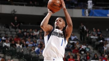 DALLAS, TX - DECEMBER 20: Dennis Smith Jr. #1 of the Dallas Mavericks shoots the ball against the Detroit Pistons on December 20, 2017 at the American Airlines Center in Dallas, Texas. NOTE TO USER: User expressly acknowledges and agrees that, by downloading and or using this photograph, User is consenting to the terms and conditions of the Getty Images License Agreement. Mandatory Copyright Notice: Copyright 2017 NBAE (Photo by Danny Bollinger/NBAE via Getty Images)