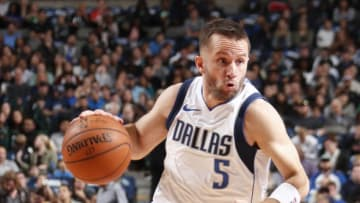 DALLAS, TX - JANUARY 9: J.J. Barea #5 of the Dallas Mavericks handles the ball against the Orlando Magic on January 9, 2018 at the American Airlines Center in Dallas, Texas. NOTE TO USER: User expressly acknowledges and agrees that, by downloading and or using this photograph, User is consenting to the terms and conditions of the Getty Images License Agreement. Mandatory Copyright Notice: Copyright 2018 NBAE (Photo by Danny Bollinger/NBAE via Getty Images)