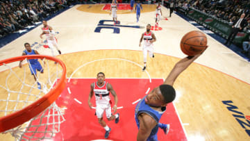 WASHINGTON, DC -NOVEMBER 7: Dennis Smith Jr. #1 of the Dallas Mavericks dunks against the Washington Wizards on November 7, 2017 at Capital One Arena in Washington, DC. NOTE TO USER: User expressly acknowledges and agrees that, by downloading and or using this Photograph, user is consenting to the terms and conditions of the Getty Images License Agreement. Mandatory Copyright Notice: Copyright 2017 NBAE (Photo by Ned Dishman/NBAE via Getty Images)