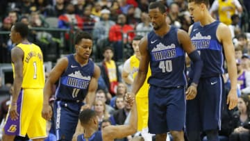 Teammates pick up Dallas Mavericks guard Dennis Smith Jr. (1) after he was fouled in the fourth quarter against the Los Angeles Lakers at American Airlines Center in Dallas on Saturday, Jan. 13, 2018. The Lakers won, 107-101, in overtime. (Rodger Mallison/Fort Worth Star-Telegram/TNS via Getty Images)