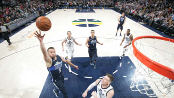 SALT LAKE CITY, UT - FEBRUARY 24: J.J. Barea #5 of the Dallas Mavericks shoots the ball against the Utah Jazz on February 24, 2018 at Vivint Smart Home Arena in Salt Lake City, Utah. NOTE TO USER: User expressly acknowledges and agrees that, by downloading and or using this Photograph, User is consenting to the terms and conditions of the Getty Images License Agreement. Mandatory Copyright Notice: Copyright 2018 NBAE (Photo by Melissa Majchrzak/NBAE via Getty Images)